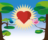 Two lovebirds on tree with heart balloon — Stock Vector