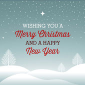 Merry Christmas and a happy new year card with winter landscape — Vetorial Stock