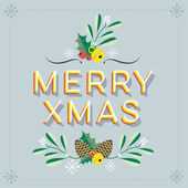 Merry Christmas Retro Vector Card with elements and illustrations on light background — Stock Vector