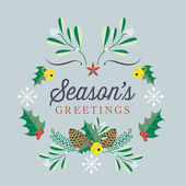Season's Greetings Retro Vector Card with Christmas elements and illustrations on light background — Stock Vector