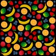 Pattern with fruits on black background. Vector and Illustration design for restaurant menus, template for cooking, healthy foods, healthy diet and website. — Stock Vector #58581229