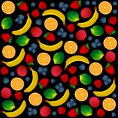 Pattern with fruits on black background. Vector and Illustration design for restaurant menus, template for cooking, healthy foods, healthy diet and website. — Stock Vector