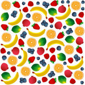 Pattern with fruits on white background. Vector and Illustration design for restaurant menus, template for cooking, healthy foods, healthy diet and website. — Stock Vector
