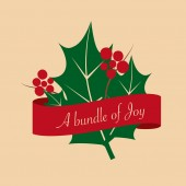 A bundle of joy vector illustration with leaf and banner — Stock Vector