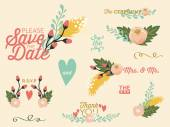 Wedding set with flowers. Vector and illustration design. — Stock Vector