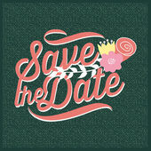 Save the date invitation with texture. Vector and illustration design — Vetor de Stock