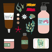 Vector natural beauty products on black background — Vetor de Stock