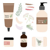 Vector natural beauty products on white background — Stock Vector