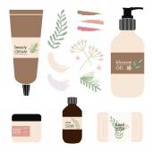 Vector natural beauty products on white background — Vector de stock