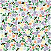 Vector floral and bee pattern — Stock Vector