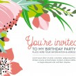 Birthday invitation card on floral background. Vector and Illustration design. — Stock Vector #65291681