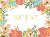 Save the Date card with flowers. Vector and illustration design. — Stock Vector