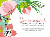Birthday invitation card on floral background. Vector and Illustration design. — Stock Vector