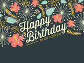 Happy Birthday card with a half of floral background pattern. — Stock Vector