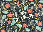 Happy Birthday card with floral background pattern. — Vetor de Stock