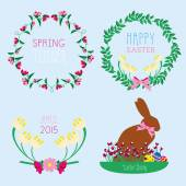 Easter set made of wreaths and easter bunny — Stock Vector