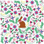 Background decorated with easter elements and a bunny placed in the middle. — Stock Vector