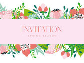 Invitation card with a pink banner and floral background. — Stock Vector