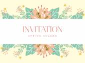 Invitation card with a white banner and floral background — Stock Vector