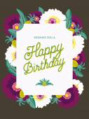 Happy Birthday card with flowers in the background. — Stock Vector