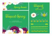 Set of two spring cards made of flower and tropical elements. — Stock Vector
