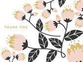 Thank you card decorated with flowers on a branch and leaves on white background. — Stock Vector
