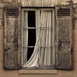 Old vintage window with open brown blinds and old used bricks. — Stock Photo #68652547