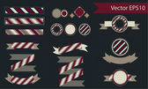 Design elements - ribbon, stripes, logos, vintage — Stock Vector