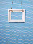 White frame on a blue background — Foto Stock