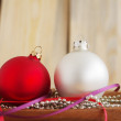 Red and white Christmas spheres — Stock Photo #56859015