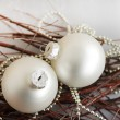 White Christmas spheres — Stock Photo #56859515