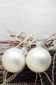 White Christmas spheres — Stock Photo