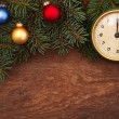 New Year's toys and old hours on a wooden background — Stock Photo #57767607