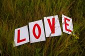 "Scenery for a love story of ""Love"" on a green grass — Stock Photo"