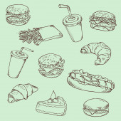 Fast food - linear drawing. — Stockfoto