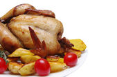 Chicken with potato on a white background — Стоковое фото