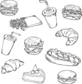 Fast food - vector  linear drawing. — Stockvektor