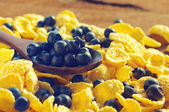 Corn flakes and fresh blueberries in a wooden spoon close up — Stock Photo