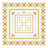 Colorful folk decor frame — Stock Vector
