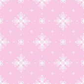 Pink seamless background with openwork white pattern — Stock Vector