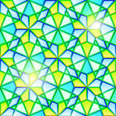 Bright seamless kaleidoscope stained glass — Stock Vector