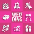 Wedding flat icons — Stock Vector #58252107
