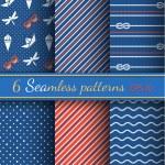 Seamless patterns on marine style — Stock Vector #58253293