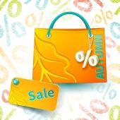 Orange shopping bag — Stock Vector
