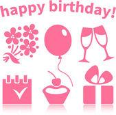 Happy birthday symbols — Stock Vector