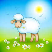 Cute white fluffy lamb — Stock Vector