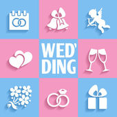 Romantic wedding  icons — Stock vektor