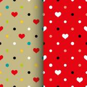 Backgrounds with dots and hearts — Vettoriale Stock