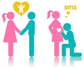 Icon couple plans pregnancy — Stockvector