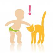 Baby stroking a cat — Stockvector
